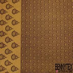 Wax Africain N° 812: Motif Plumeau Moutarde fond Motif Cravate Chocolat