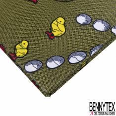 Wax Africain N° 813: Motif Grosse Poule avec ses Poussins et ses oeufs fond motif Cravate