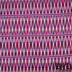 Wax Africain N° 815: Motif Tribal Ethnique Prune Violet Fushia en Bande cerné Blanc