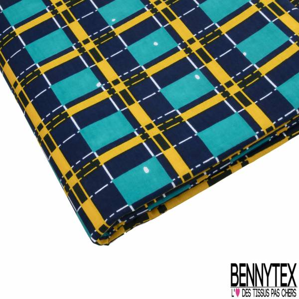 Wax Africain N° 816: Motif Nappe à Carreaux Vert Emeraude Bleu Nuit Moutarde Blanc