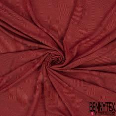 Maille Gaufrée à Motif Géométrique Quadrillé Ton sur Ton Rouge