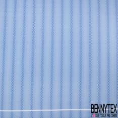 Coupon 3m Carré de Satin de Soie N°201: Motif Carré Losange fond effet Jeans Bleu