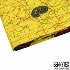 Wax Africain N° 818: Simple Base Motif cachemire fond Jaune Gribouillage Noir Rouge