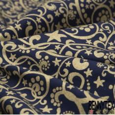 Coupon 3m Coton de Noël Imprimé Arabesque Or fond Marine