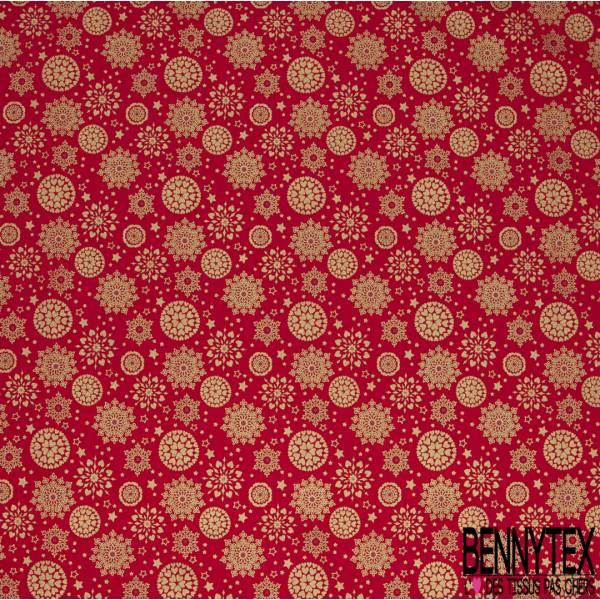 Coupon 3m Coton de Noël Imprimé Flocon de Neige Or fond Rouge