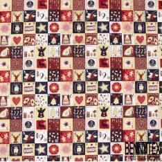 Coupon 3m Coton de Noël Imprimé Calendrier de l'Avent ton Marine Rouge