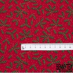 Coupon 3m Coton de Noël Imprimé Feuille de Houx fond Rouge