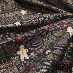 Coupon 3m Coton de Noël Imprimé petit Bonhomme de Pain d'Epice fond Marine