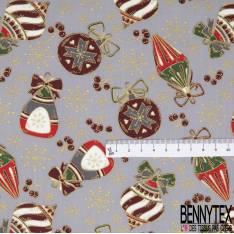 Coupon 3m Coton de Noël Imprimé Suspension de Noël Fantaisie fond Gris