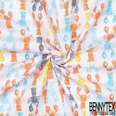 Coton Imprimé Motif Homard Multicolore en Tampon fond Blanc