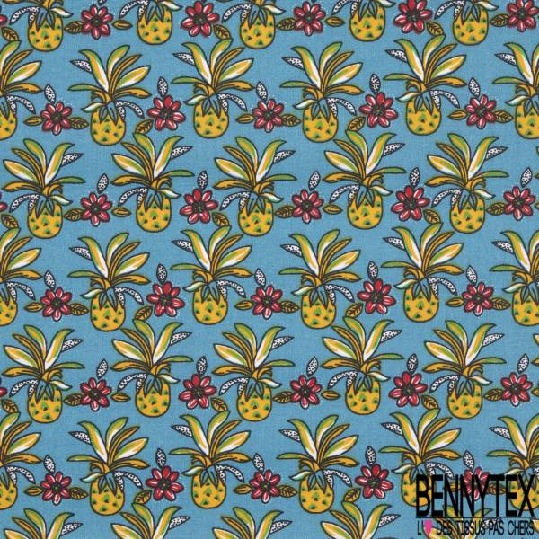 Coton Imprimé Motif Ananas et Fleur Tropicale fond Bleu Gris