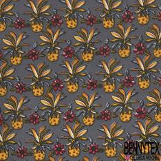 Coton Imprimé Motif Ananas et Fleur Tropicale fond Anthracite