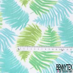 Coton Imprimé Motif Grande Feuille Tropicale ton Turquoise Vert fond Blanc