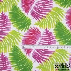 Coton Imprimé Motif Grande Feuille Tropicale ton Fushia Vert fond Blanc
