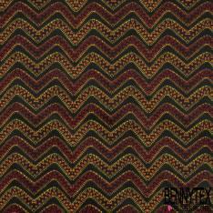 Coton Imprimé Motif Abstrait Esprit Tribal Ethnique ton Orange Rouge Noir