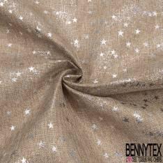Toile Polyester façon Jute Coloris Naturel Imprimé Poussière d'étoiles Paillette Argent