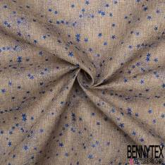 Toile Polyester façon Jute Coloris Naturel Imprimé Poussière d'étoiles Paillette Bleu Roi