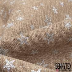 Toile Polyester façon Jute Coloris Naturel Imprimé Etoiles Paillette Argent