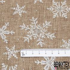 Toile Polyester façon Jute Coloris Naturel Imprimé Flocon de Neige Blanc Paillette Argent