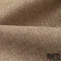 Toile Polyester façon Jute Coloris Naturel Imprimé Projection Paillette Or