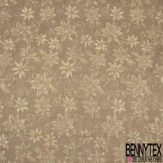 Toile Polyester souple fine façon Jute Coloris Naturel Imprimé Fleur Tropicale Paillette Or