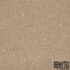 Toile Polyester souple fine façon Jute Coloris Naturel Imprimé Céleste Etoilé Paillette Or