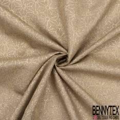 Toile Polyester souple fine façon Jute Coloris Naturel Imprimé Japonisant Géométrique Paillette Or