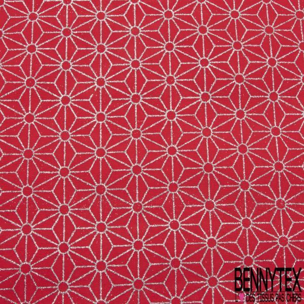 Toile Polyester souple fine façon Jute Coloris Rouge Imprimé Japonisant Géométrique Paillette Argent