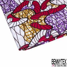 Wax Africain N° 822: Motif Abstrait Fushia Blanc Marbré Ocre Violet
