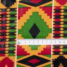 Wax Africain N° 824: Motif Géométrique Amérindien Rouge Vert Noir Orange