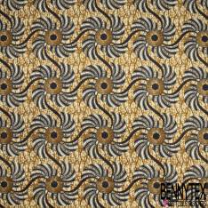 Wax Africain N° 825: Motif Style Impression Fossile Coquillage Ton Noir Cappuccino