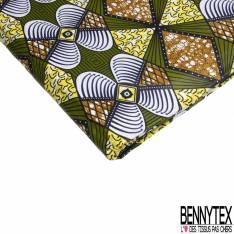 Wax Africain N° 829: Motif Géométrique Symétrique Kaki Blanc Marbré Jaune Cappuccino