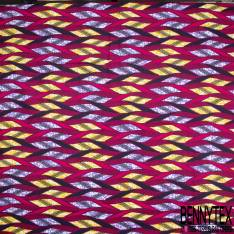 Wax Africain N° 830: Motif Sinusoïdale Fantaisie Fushia fond Marbré Jaune Parme
