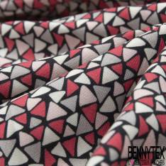 Fibranne Viscose Toucher Pashmina Imprimé Petite Mosaïque Triangle Rose Gris fond Noir