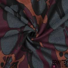 Laine Graphique Imprimé Floral ton Rouille Gris Noir Prune
