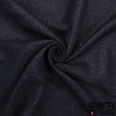 Organza de Soie Bleu Nuit Métal Noir