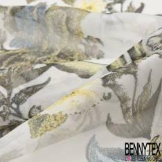 Mousseline de Soie Imprimé Graphique Gribouillis Taupe fond Noir