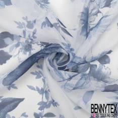 Mousseline de Soie Imprimé Floral ton Bleu fond Blanc