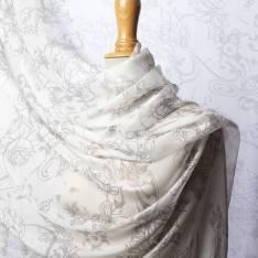 Mousseline de Soie Imprimé Floral Graphique et Arabesque Baroque Gris fond Blanc