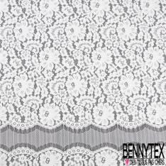 Panneau 120cm Dentelle Calaisienne Polyamide Blanc Floral
