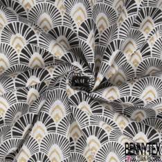 Toile de Jute motif Japonisant Noir Or fond Blanc