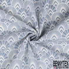 Toile de Jute motif Japonisant Bleu Charron fond Blanc
