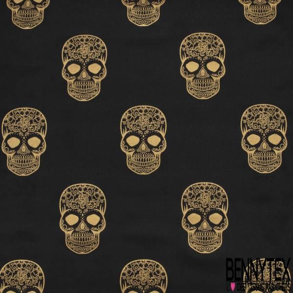 Toile de Jute Coloris Noir Imprimé Grande Tête de Mort Or Vieilli