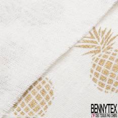 Toile de Jute Coloris Blanc Naturel Imprimé Ananas Or Vieilli