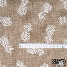 Toile façon Jute souple Coloris Naturel Imprimé Ananas Blanc