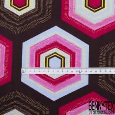 Wax Africain N° 835: Motif Hexagone Fantaisie Multicolore fond Café
