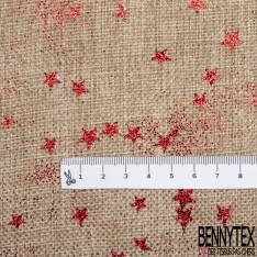Toile façon Jute Coloris Naturel Imprimé Poussière d'étoiles Paillette Rouge