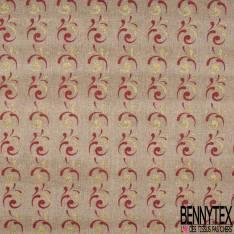 Toile façon Jute souple Coloris Naturel Imprimé Spirale Paillette Rouge et Or