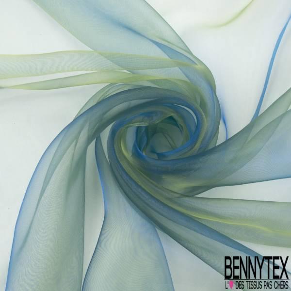 Organza Chatoyant coloris Jaune Bleu Roi
