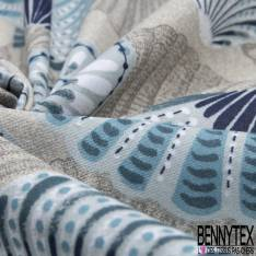 Coton Imprimé Motif Bicyclette Multicolore fond perle